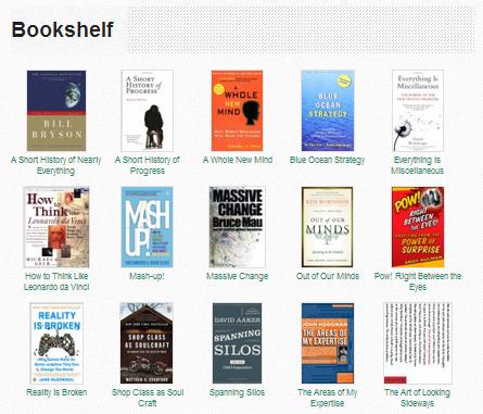 Tampilan bookshelf di Creative Generalist.
